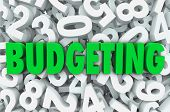 Budgeting word green letters background of numbers creating budget plan for finances