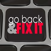 Go Back Fix It black computer keyboard key program software or application correct mistakes