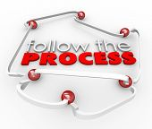 Follow the Process arrows connecting balls steps or instructions in a procedure or system