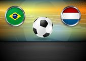 Football backdrop. Brazil and Netherlands