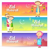 illustration of people celebrating Eid