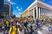 MOSCOW - JUNE 29: People take part in Bike Parade on June 29, 2014 in Moscow. Thousands of cyclists