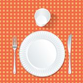 vector paper plate with plastic glass on red and yellow tablecloth