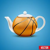 Ceramic Teapot In Basketball Ball Style. Vector Illustration.