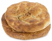 Turkish pita called ramazan pidesi isolated on white background