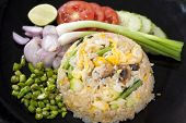 Fried Rice with shrimps serve with fresh vegetable