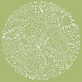 White Decorative Floral Composition On Green Background