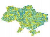 Map Of Ukraine Territory Painted With National Painting Style Petrikivka