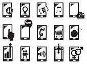 foto of handphone  - Vector illustration of handphone and different functions in black and white - JPG