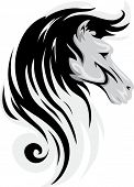 Mascot Illustration Featuring a Black Horse with a Curly Mane
