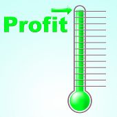 Profit Thermometer Represents Profitable Income And Thermostat