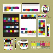Business Corporate Identity Template With Colorful Blocks
