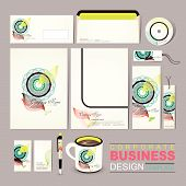 Vector Business Corporate Identity Template With Abstract Flower