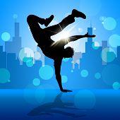 Break Dancer Indicates Street Dancing And Breakdancing