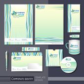 Corporate Identity Template With Green And Blue Elements.
