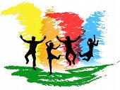 Jumping People Indicates Colorful Active And Happiness