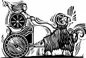 foto of charioteer  - Woodcut Style image of the Norse Goddess Frigg or Frigga riding in a chariot pulled by goats - JPG