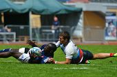 MOSCOW, RUSSIA - JUNE 29, 2014: Semifinal plate match between France (blue uniform) and Russia during the FIRA-AER European Grand Prix Series. Russia won 33-5