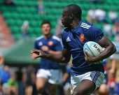 MOSCOW, RUSSIA - JUNE 29, 2014: Ezekiel Sedjoro of France with the ball in the semifinal plate match with Russia during the FIRA-AER European Grand Prix Series. Russia won 33-5