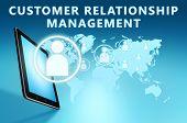 image of customer relationship management  - Customer Relationship Management illustration with tablet computer on blue background - JPG