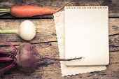 image of recipe card  - Empty Recipe Card on Wooden Rustic Background with Fresh Vegetables - JPG