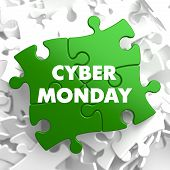 stock photo of monday  - Cyber Monday on Green Puzzle - JPG