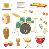 stock photo of timpani  - Set of vector percussion musical instruments in the flat style - JPG