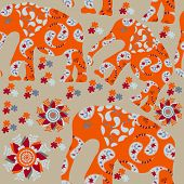 Elephant Seamless Pattern With Flower And Seamless Pattern In Swatch Menu, Vector. Cute African Back