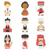 Boys In Traditional Clothes Flat Icons