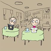 Girl in cafe flirting ogle. Vector cartoon