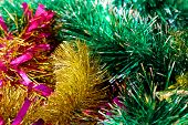 New Year Decoration Tinsel Colored Yellow,  Green, White, Pink