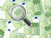 Magnifier On One Hundred Euro Background