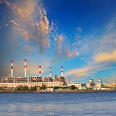 picture of chp  - Thermal Power Plant beside river side location use for industry and power energy producing and multipipurpose topic