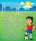 Maze 5 with soccer player - eps10 vector illustration.