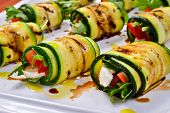 picture of zucchini  - grilled zucchini with tomato arugula and mozzarella cheese drizzled with olive oil and balsamic vinegar - JPG