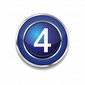 4 Number Circular Vector Blue Web Icon Button