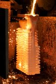 Opened High Temperature Owen With Investment Casting Mould During Casting