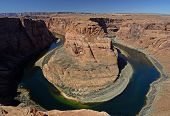 image of horseshoe  - Horseshoe Bend is a horseshoe-shaped meander of the Colorado River located near the town of Page, Arizona, in the United States. 