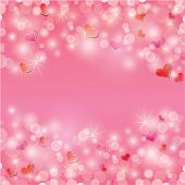 Valentine's Day Background With Hearts And Lights - Holiday Pink Abstract
