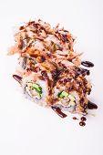 eel sushi roll in tuna flakes