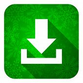 download flat icon, christmas button