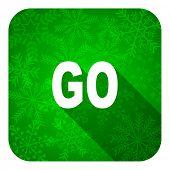 go flat icon, christmas button