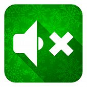 speaker volume flat icon, christmas button, music sign