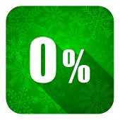 0 percent flat icon, christmas button, sale sign