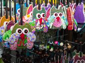 Handmade Colorful Fabric Owl Key Chain