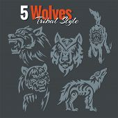 Wolves in tribal style. Vector set.