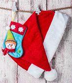 Christmas Stocking And Santa Hat