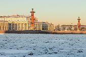 View Of Saint Petersburg. Spit Of Vasilievsky Island In Winter