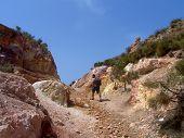 hiking at vulcano island poster