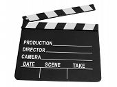 Black Camera clapper Sign Isolated, video production.